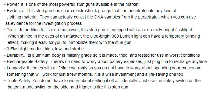 TACTICAL FORCE Stun Gun Maximum Power Police Flashlight Stun Gun With  Quadruple Shock Prongs Pink