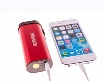 TERMINATOR STUN GUN + FLASHLIGHT + POWER BANK CHARGER FOR CELL PHONE RED