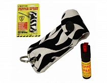 Cheetah OC18 Keychain Mace Pepper Spray w/ Zebra Pattern Holster