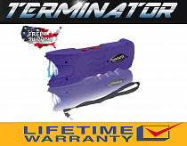Terminator Max Power Purple Police Stun Gun Safety Pin Blinding Flashlight