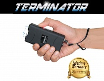 Terminator SGTB800 | Maximum Power Mini Police Stun Gun w/ Safety Pin  LED Flashlight (Black)