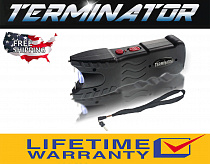 Terminator Sun Gun  SGT916 80 BV Max Power police Stun Gun Safety Pin Blinding flashlight